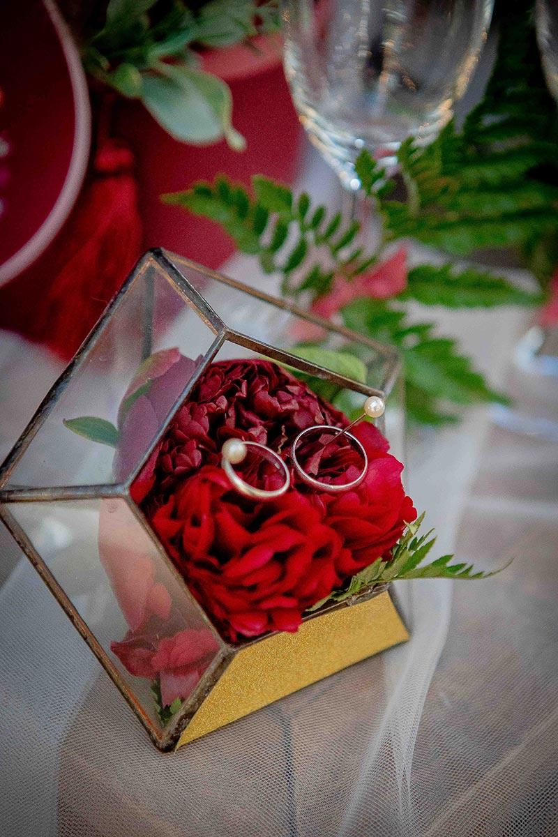 Коробочка для свадебных колец в стиле бохо